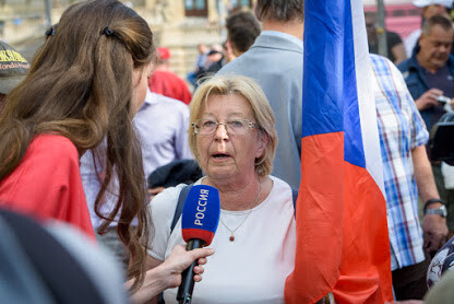 Russian media outlets covered the anti-EU demonstration convened on 25 April 2019 by the