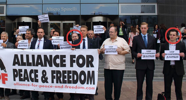 A group photograph of the members of the Alliance for Peace and Freedom, a faction at the EP. Erik Lamprecht, Vice-Chair of the Workers Social Justice Party (DSSS) of the Czech Republic, is on the outer right, while DSSS Chair Tomáš Vandas is in the middle. (PHOTO:  website of the APF)