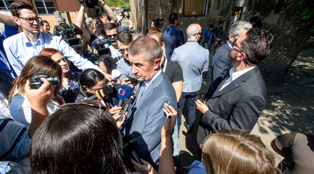 Czech Prime Minister Andrej Babiš (center) and other members of the acting Government visited the Ústecký Region on 14 May 2018 and toured buildings related to the disbursal of housing benefits and suspicion of trafficking in poverty located on Sklářská Street in the socially excluded locality of Předlice in Ústí nad Labem. (PHOTO:  ČTK)
