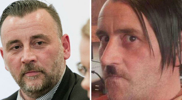 Pegida co-founder Lutz Bachmann, pictured on the right when he dressed up as Adolf Hitler. (Source:  Facebook.com, AFP)