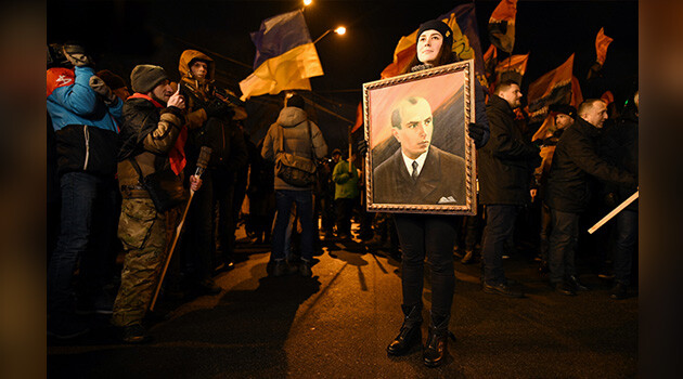 Several thousand people in Kyiv spent New Year's 2019 commemorating the 110th anniversary of the birth of the Ukrainian nationalist leader Stepan Bandera. (PHOTO:  Vít Hassan)