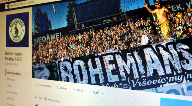 The Facebook page of the Bohemians Praha 1905 football club in the Czech Republic.