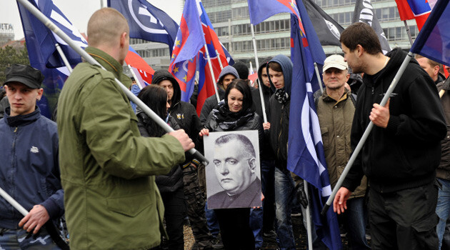 About 150 promoters of the extremist movement Slovak Solidarity participated in an assembly and march on 14 March 2015 in Bratislava to mark the anniversary of the founding of the WW-era fascist Slovak State in 1939, which was under the strong influence of Nazi Germany. The march aimed to reach the grave of former Slovak President Jozef Tiso. (PHOTO:  ČTK)