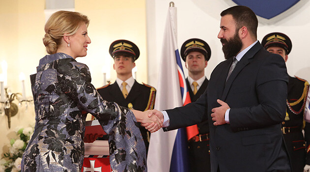 President of the Slovak Republic Zuzana Čaputová awarded the Order of Ľudovít Štúr First Class on 2 January 2020 to  Jána Cibuľa in memoriam for his exceptional contribution to developing the social area and spreading the good name of the Slovak Republic abroad. The honor was received on his behalf by his son, David Cibuľa. (PHOTO: Facebook page of  Zuzana Čaputová).