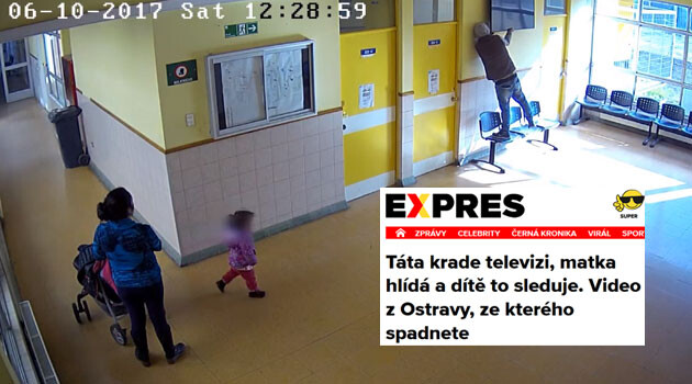 A screen shot from footage of a theft of a television in Chile that the Czech tabloid Expres.cz fraudulently reported had taken place in Ostrava in 2017. (Collage:  Romea.cz)
