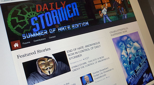 The neo-Nazi website Daily Stormer was told by its domain provider to close within 24 hours and was then allegedly hacked by the international Anonymous group on 14 August, but media reports say nobody from Anonymous has claimed responsibility. (PHOTO:  Romea.cz)