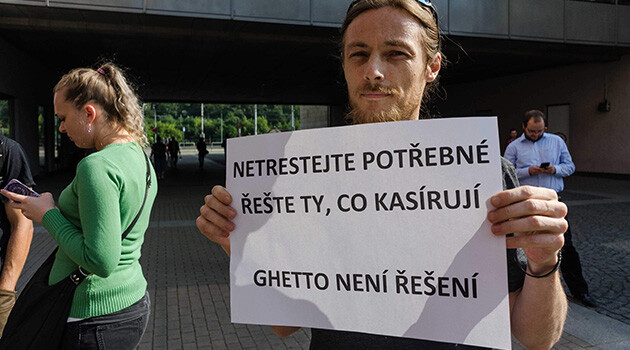 Demonstration against impoverished Romani tenants being evicted, Ústí nad Labem, Czech Republic, 14 June 2018. The sign reads