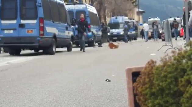 Hundreds of demonstrators clashed with police at the Brenner Pass in the Alps, which connects Austria with Italy, on 7 May 2016. (PHOTO:  YouTube.com)