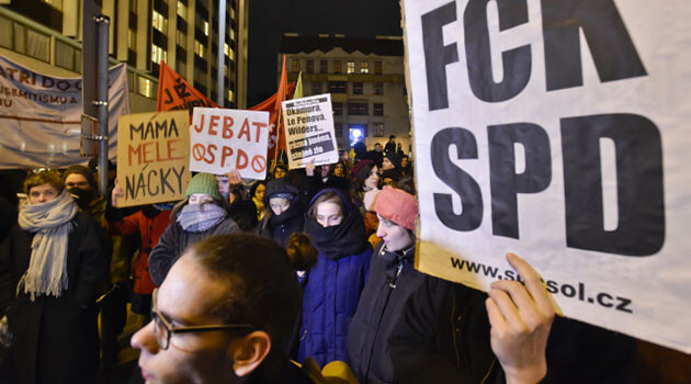 On 15 December 2017 after 18:00 several hundred people peacefully protested in Prague against an upcoming meeting of representatives of the ultra-right from all over Europe. (PHOTO:  Czech Press Agency)