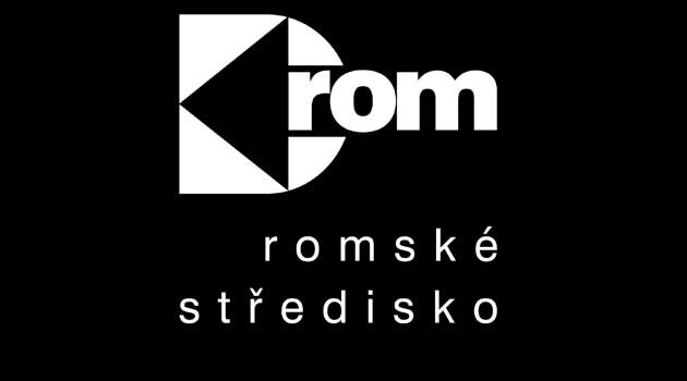 The logo of DROM Romani Center (DROM, romské středisko) in Brno, Czech Republic.