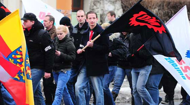 Extremists with the Workers' Youth (DM) and the Workers' Social Justice Party (DSSS) in Jihlava, Czech Republic, in 2012. (PHOTO:  Romea.cz Archive)