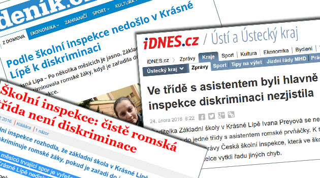 The headlines of the Czech media in February 2016 unequivocally reported that the Czech School Inspection had