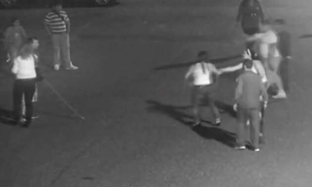 The assault in Duchcov in the summer of 2013 was captured by a municipal police security camera.