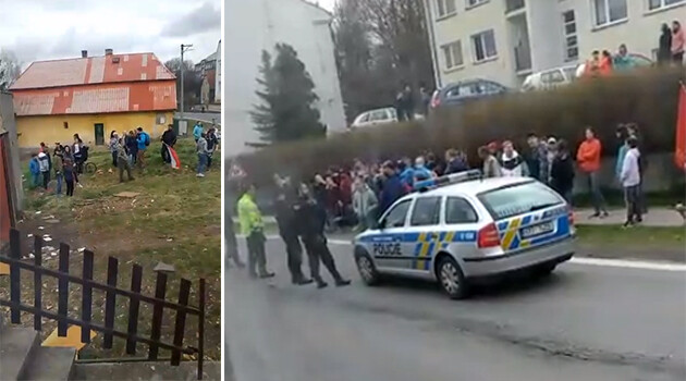 Footage from the live broadcast by a Romani family in Dvorec (Bruntál district) whose home was surrounded during a protest on 6 April 2019 against their family members accused of committing violence. (PHOTO:  Facebook.com)