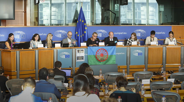 A session during the 2019 European Roma Week, chaired by MEP Soraya Post, who is herself of Romani origin from Sweden. Gabriela Hrabaňová, director of the ERGO Network, is seated on the far left.