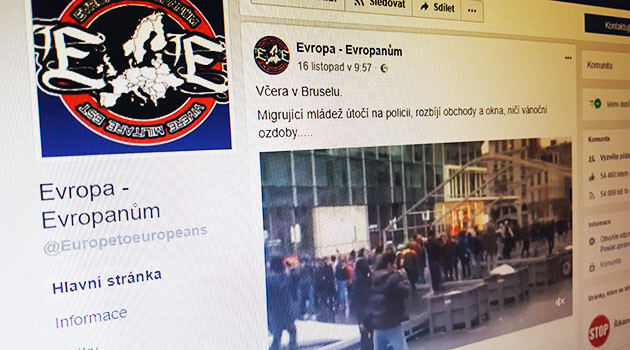 The Facebook page of the Czech-language