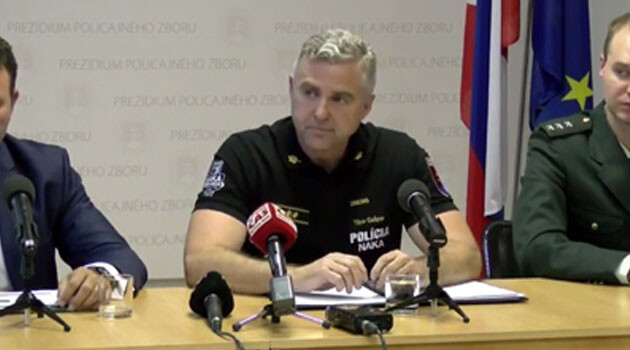 The President of the Police Corps of the Slovak Republic, Tibor Gašpar, during his press conference about the police intervention in Zborov, 2017. (PHOTO:  YouTube.com)