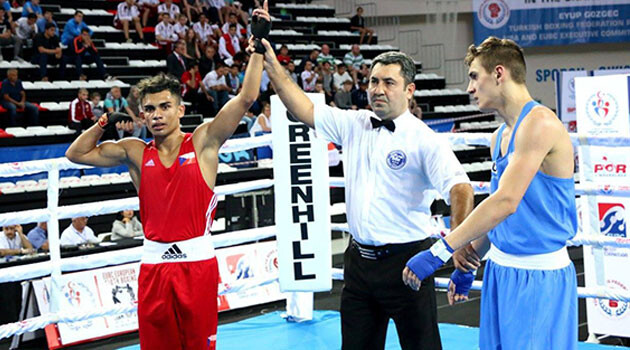 Miroslav Gorol taking the bronze at the European Youth Championship in 2017. (PHOTO:  Facebook page of the Czech Boxing Association)