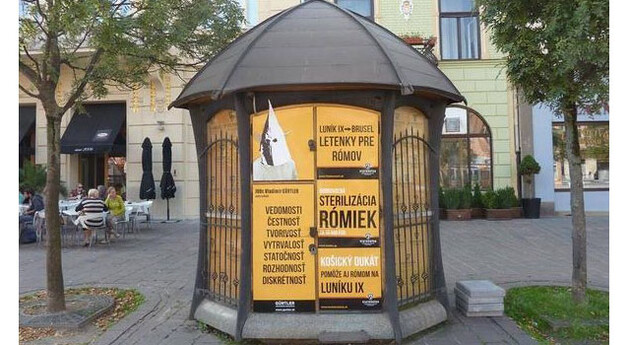 Posters from Vladimír Gürtler's hateful election campaign in Slovakia, 2014. Someone else has covered up his face in the upper left-hand corner with the image of a KKK hood. The posters advocate sending Romani people to Brussels and sterilizing Romani women. (Source:  Twitter)