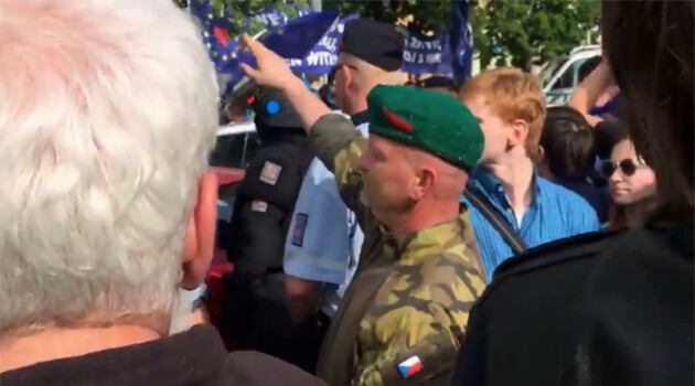 A man giving the Nazi salute in Prague on 25 April 2019 during a demonstration convened by the populist-xenophobic