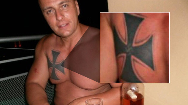 Rastislav Jakubík with a Nazi Iron Cross and smaller Nazi swastika on his chest. (PHOTO:  DennikN.sk, Collage: Romea.cz)