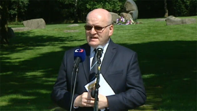 Czech Culture Minister Daniel Herman on 1 August 2014 during the Government's commemorative ceremony at Lety by Písek, where Romani people were imprisoned during WWII prior to being sent to Auschwitz.  Today an industrial pig farm occupies the site of the former concentration camp.