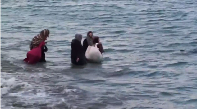 A still from video footage recorded in Crete in 2018 by a vacationing Czech Police officer who used it to claim through online social networks that he had discovered journalists allegedly staging the drowning of migrants.