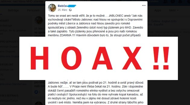A 2019 Facebook post featuring an antigypsyist hoax about the Czech town of Jablonec nad Nisou. (PHOTO:  Collage of ROMEA.cz)