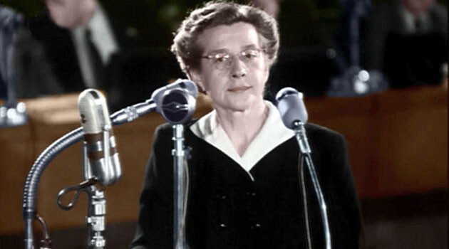 A colorized image of Milada Horáková taken from the film footage of her show trial.  (PHOTO:  Wikimedia Commons, Cassius Chaerea)