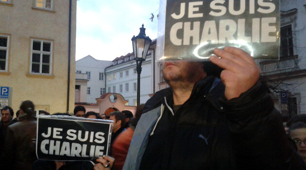 A remembrance gathering was held in front of the French Embassy in Prague to honor the memories of those shot dead in the Paris editorial offices of the satirical weekly Charlie Hebdo on 10 January 2015. (PHOTO:  Jan Čonka)