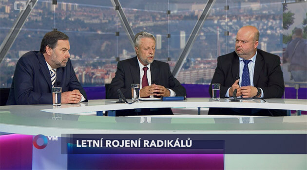 Former Czech Interior Ministers Radek John (left),  František Bublan (center) and Martin Pecina (right) discussed the neo-Nazi movement on the 7 July 2013 episode of the television program
