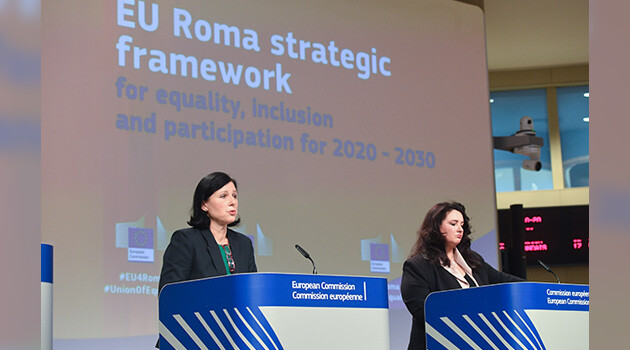 European Commission Vice-President for Values and Transparency Věra Jourová (left) and Helena Dalli, European Commissioner for Equality (right), held a press conference on 7 October 2020 about the EU Roma strategic framework for equality, inclusion and participation for 2020-2030. (PHOTO:  European Commission)