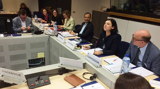 Eurocommissioner for Justice Věra Jourová at a meeting with Internet companies on 31 May 2016. (PHOTO:  Věra Jourová, Twitter)