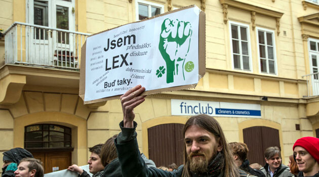 Demonstrator in Prague, 2016. The sign reads