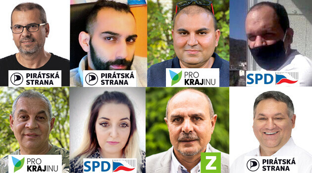 The Romani candidates running in elections to Regional Authorities and the Senate in the Czech Republic in 2020. (Collage:  Romea.cz)