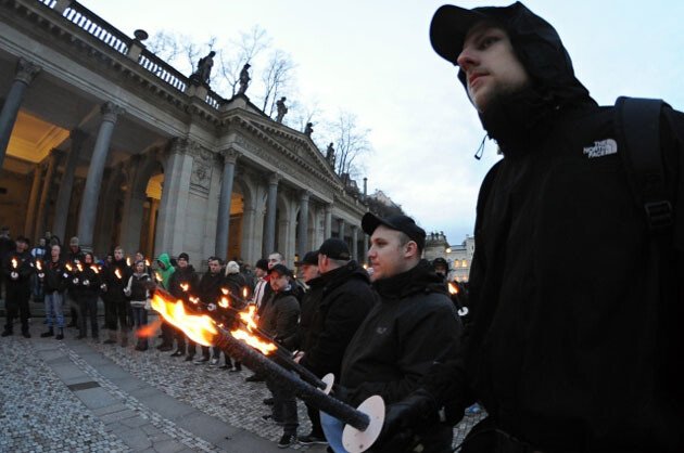 In a continuation of the right-wing extremist events such as those noted by the US State Department during 2013, approximately 100 neo-Nazis from the Czech Republic and Germany came to Karlovy Vary on 15 February 2014 for an assembly which organizers claimed was meant to honor the victims of a WWII bombardment. (PHOTO:  Czech News Agency)