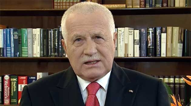 Former Czech President Václav Klaus during his 2013 New Year's Day speech (PHOTO:  Czech Television)