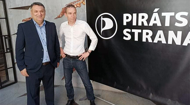 Cyril Koky (left) and chair of the Pirate Party in the Czech Republic, Ivan Bartoš (right). (PHOTO:  Pirate Party)