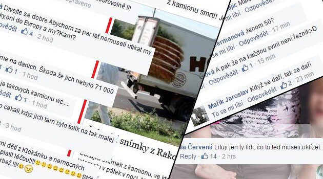 Distasteful commentaries posted in Czech to Facebook just after a truck with more than 70 dead refugees was discovered in 2015. (Collage:  Romea.cz)
