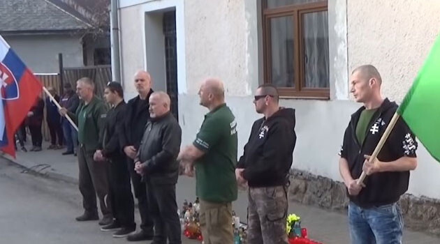 Followers of the Slovak ultra-right politician Marian Kotleba visited the location of a murder of which a Romani man is suspected in March 2019. (PHOTO:  YouTube)