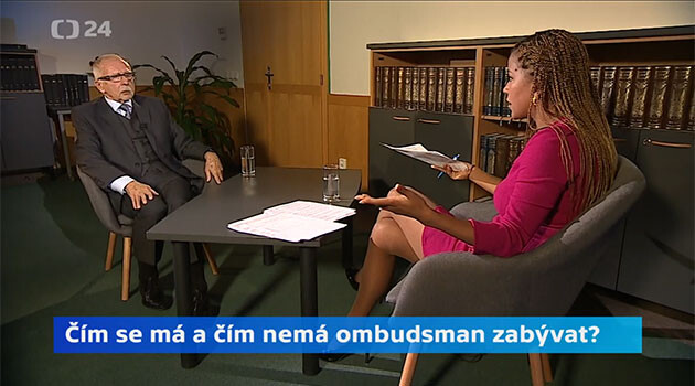 Stanislav Křeček (left) and Zuzana Tvarůžková (right) on 20 February 2020 on public broadcaster Czech Television's Interview ČT24 program. (PHOTO:  Czech Television)