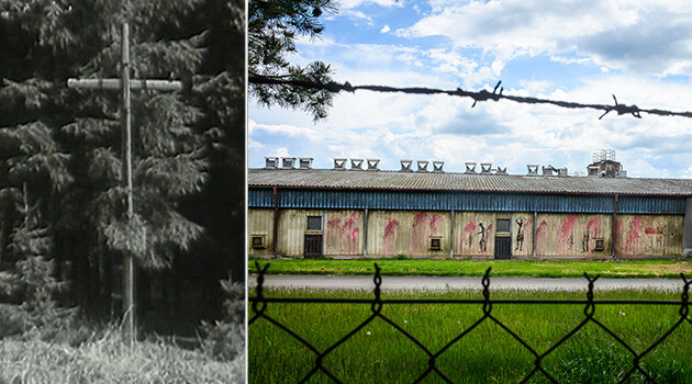The cross with a crown of thorns at the location of the WWII-era concentration camp for Romani people at Lety u Písku (left), photo from 1959, and the industrial pig farm built there in the 1970s (right). (PHOTO:  Collage by Romea.cz)