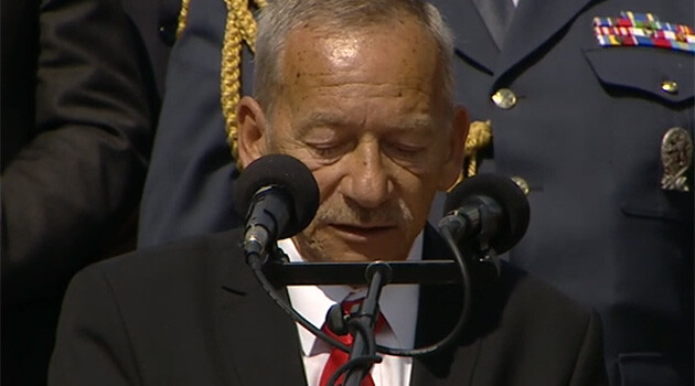 President of the Czech Senate Jaroslav Kubera during the commemorative ceremony at Terezín on 19 May 2019. (PHOTO:  Czech Television)