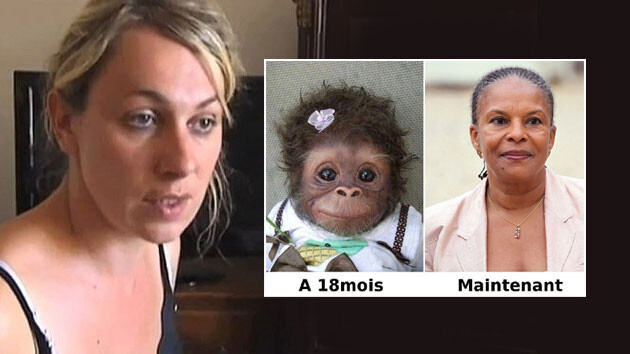 Anne-Sophie Leclère (left) compared French Justice Minister Christiane Taubira (right) to a monkey on her microblog and posted the image above. The text under the monkey reads