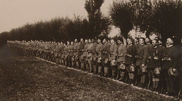 Italy, October 1918 - honoring the Czechoslovaks, singing of their national anthem. (PHOTO:  KLEG Archive, VHÚ, Prague).