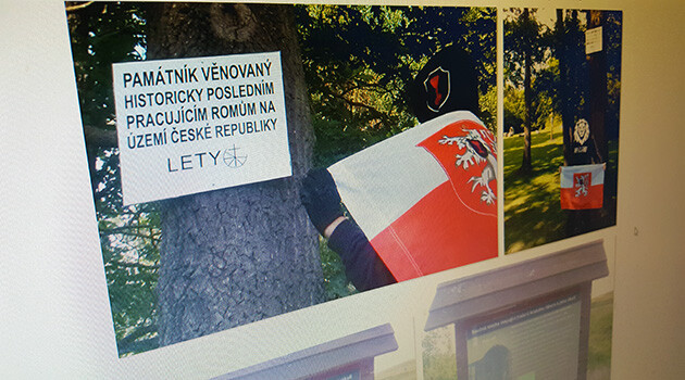 A shot of the website where extremists have uploaded photographs of their desecration of the memorial to the genocide of the Roma at Lety u Písku (June 2018). (PHOTO:  Romea.cz)