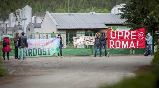 On 13 May 2014, activists began blockading the pig farm at Lety by Písek, which stands on the site of a former forced labor camp for Romani people. (PHOTO:  Czech News Agency).
