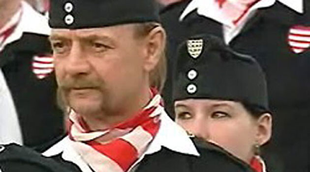 A member of the Hungarian Guard, the paramilitary wing of the nationalist Jobbik party in Hungary founded on 25 August 2007 and formally dissolved by the Budapest Tribunal on 2 July 2009. (Illustrative photo:  Romea.cz archive).