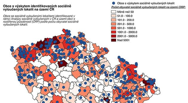 Map of the socially excluded localities in the Czech Republic. (Source:  gac.cz)