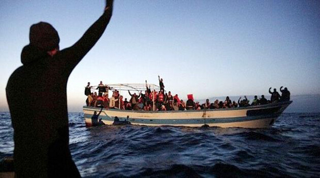 A boat with migrants onboard